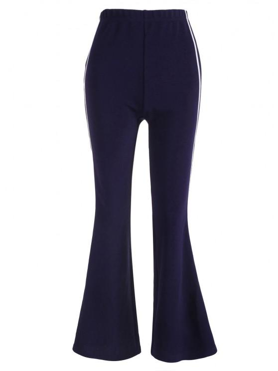 womens ZAFUL Tape Side High Waisted Bootcut Pants - DARK SLATE BLUE S