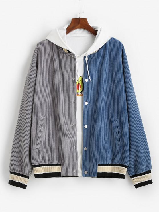 Colorblock Corduroy Baseball Jacket - أزرق XL