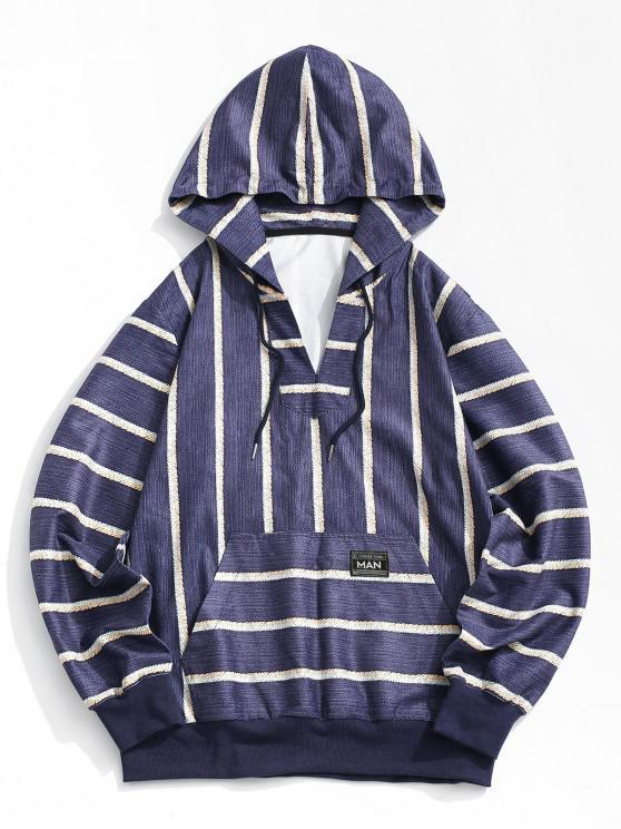 lady Striped Print V-neck Hoodie - DEEP BLUE M
