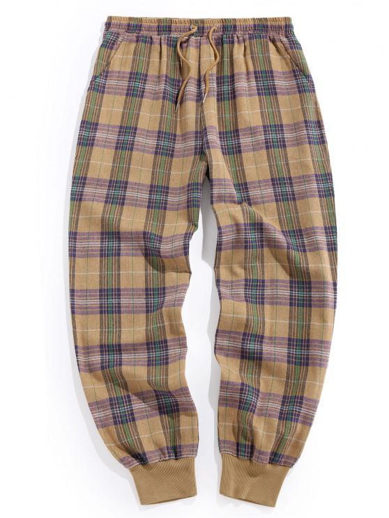 sale ZAFUL Plaid Print Drawstring Casual Pants - LIGHT KHAKI M