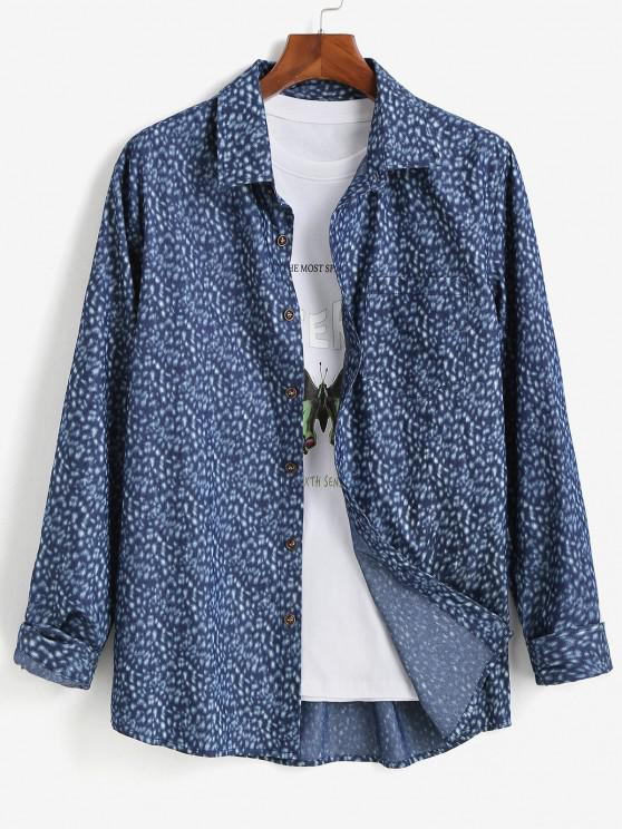 lady Button Up Pocket Patch Long Sleeve Shirt - BLUE S