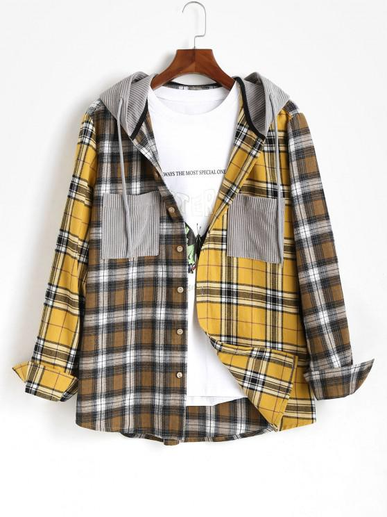 hot Plaid Long Sleeve Shirt With Corduroy Hood - YELLOW M
