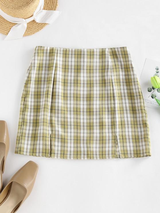 ZAFUL Mini Falda en a Cuadros de Abertura a Cuadros - Verde claro XL