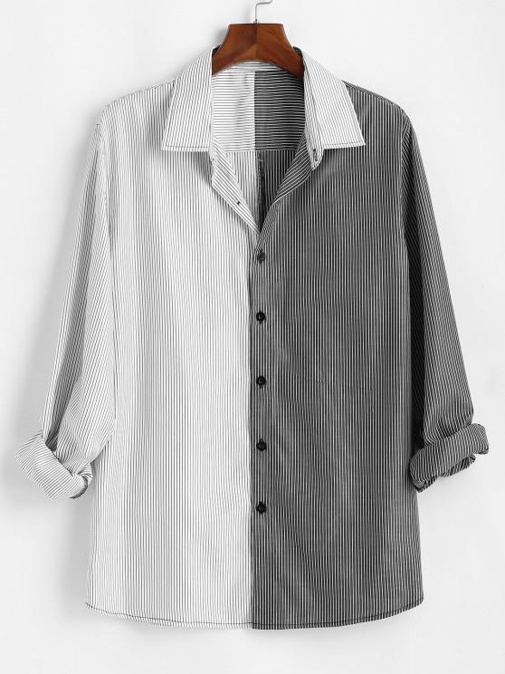 women Two Tone Striped Shirt - WHITE S