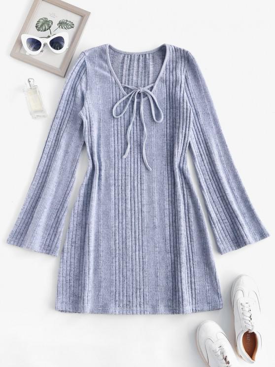 trendy Fuzzy Ribbed Tie Collar Flare Sleeve Dress - LIGHT GRAY L
