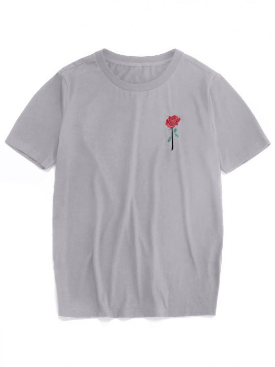 unique ZAFUL Rose Embroidery Short Sleeve T-shirt - GRAY 2XL