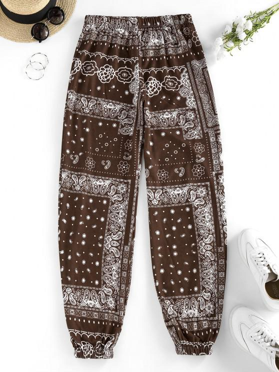 ZAFUL Tribal Flower Paisley Print High Waisted Pants - القهوة العميقة S