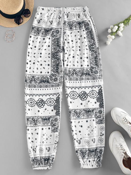 ZAFUL Pantalon Ethnique Fleur Imprimée à Taille Haute - Blanc L
