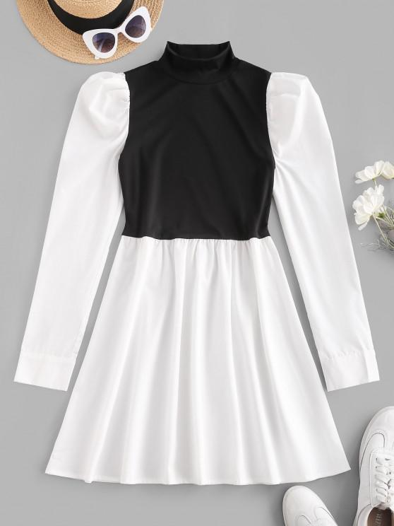 new Mock Neck Puff Sleeve Two Tone Mini Dress - WHITE M