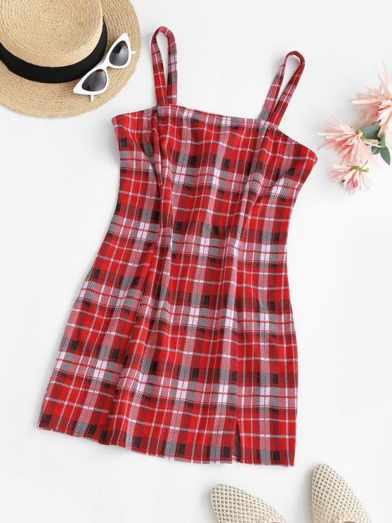 womens ZAFUL Plaid Front Slit Bodycon Mini Dress - RED S
