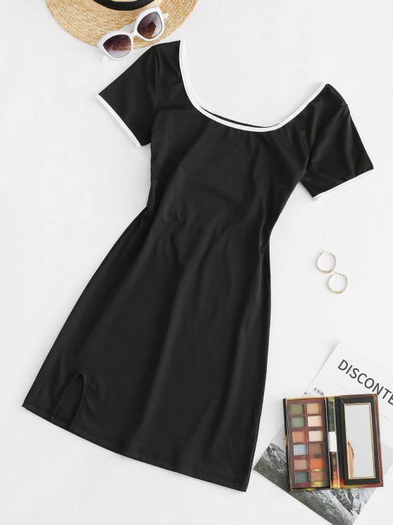 lady Contrast Binding Slit Cutout Tee Dress - BLACK M