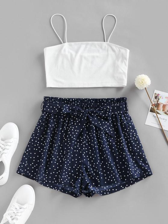 fancy ZAFUL Polka Dot Paperbag Waist Ribbed Shorts Set - DEEP BLUE M
