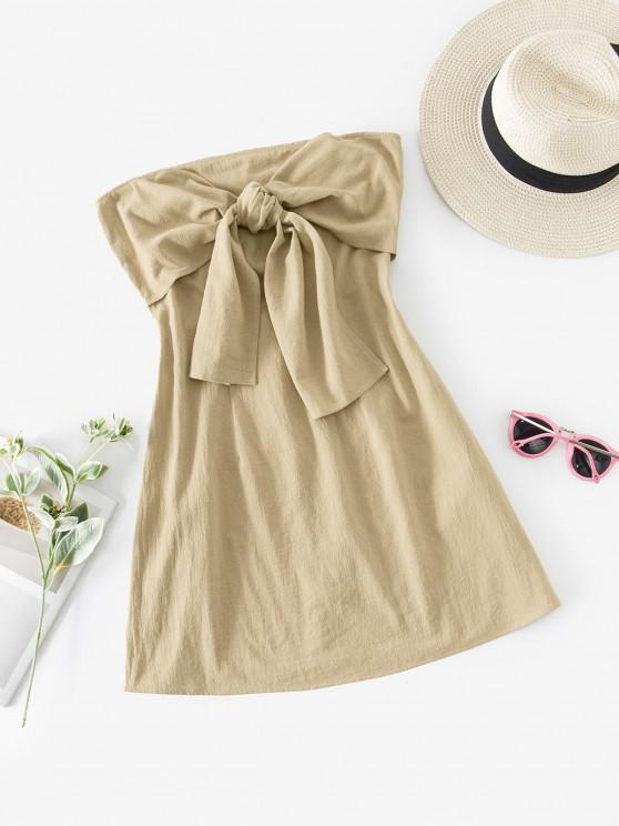 unique ZAFUL Knot Front Cotton Strapless Dress - LIGHT KHAKI S
