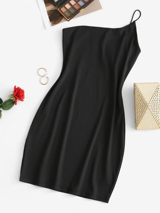 trendy One Shoulder Bodycon Mini Cami Dress - BLACK S