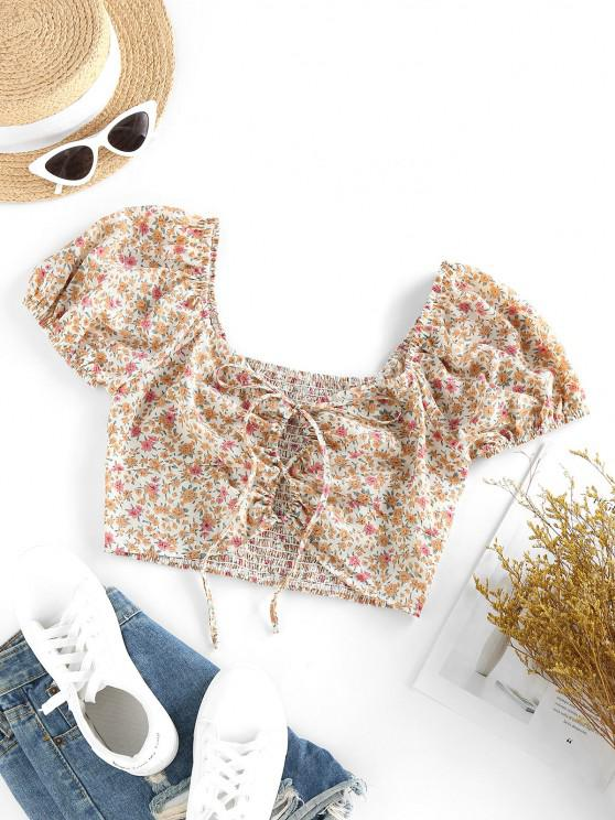 ZAFUL Ditsy Floral Lace-up Smocked Milkmaid Blouse - القهوة الخفيفة S