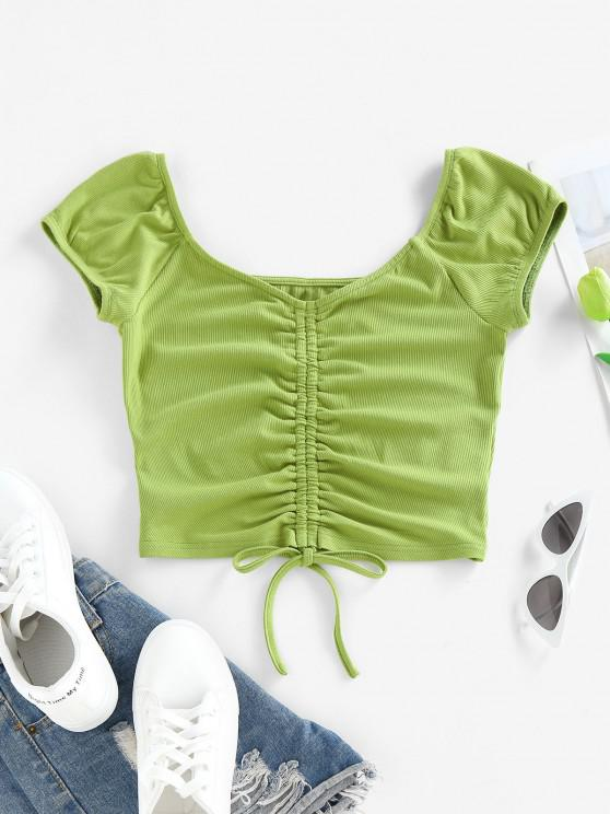 buy ZAFUL Ribbed Cinched Crop T Shirt - GREEN XL