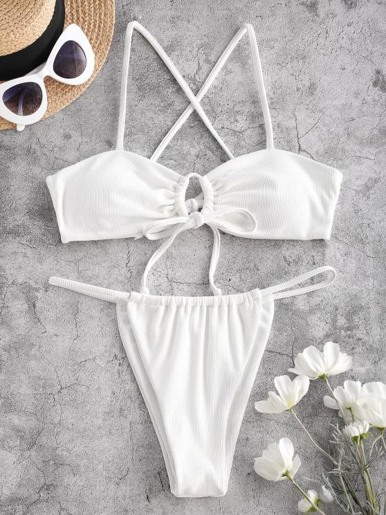 ZAFUL Ribbed Crisscross Tie Front Thong Bikini Swimwear - أبيض M