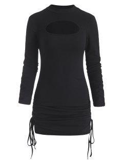 Langärmliges Bodycon Kleid Mit Geripptem Ausschnitt - Schwarz M