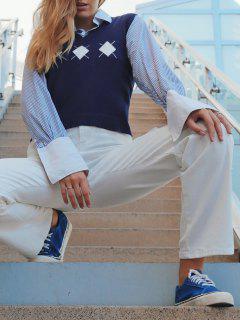 ZAFUL Argyle V Ausschnitt Pullover Weste - Tiefes Blau L