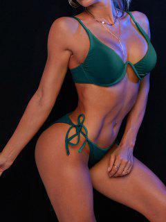ZAFUL Tie Side Underwire Ribbed Bikini Swimsuit - Peacock Blue S