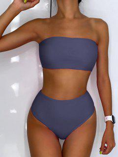 ZAFUL High Waisted Bandeau Bikini Set - Blue Gray M