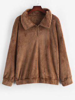 ZAFUL Plus Size Fluffy Quarter Zip Sweatshirt - Coffee 3xl