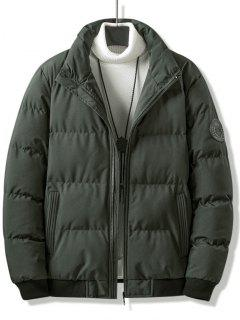 Letter Tiger Badge Patch Padded Jacket - Deep Green Xs