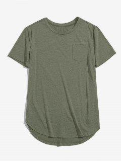 ZAFUL Solid Chest Pocket High Low T-shirt - Light Green M