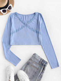 T-Shirt In Pizzo Smerlata Con Scollo A V - Azzurro M