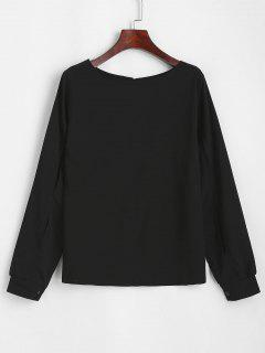 Split Sleeve Keyhole Back Pullover Blouse - Black M