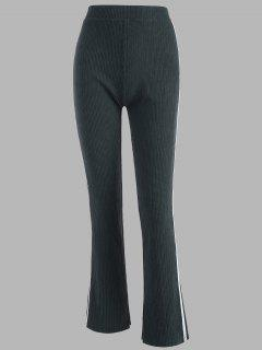 Tape Side High Waisted Slit Cuffs Pants - Dark Gray S