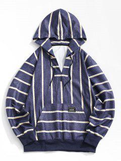 Striped Print V-neck Hoodie - Deep Blue M