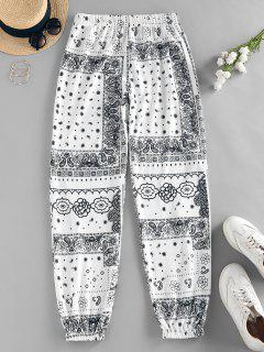ZAFUL Tribal Flower Paisley Print High Waisted Pants - White S
