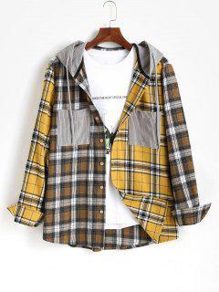 Plaid Long Sleeve Shirt With Corduroy Hood - Yellow L