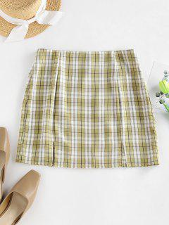 ZAFUL Plaid Slit A Line Mini Skirt - Light Green S
