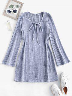 Fuzzy Ribbed Tie Collar Flare Sleeve Dress - Light Gray M