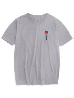 ZAFUL Rose Embroidery Short Sleeve T-shirt - Gray S
