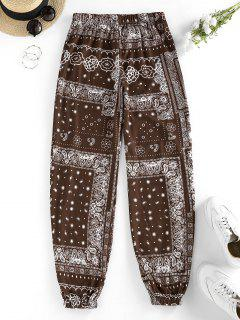 ZAFUL Tribal Flower Paisley Print High Waisted Pants - Deep Coffee M