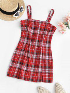 ZAFUL Plaid Front Slit Bodycon Mini Dress - Red M