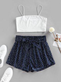 ZAFUL Polka Dot Paperbag Waist Ribbed Shorts Set - Deep Blue M