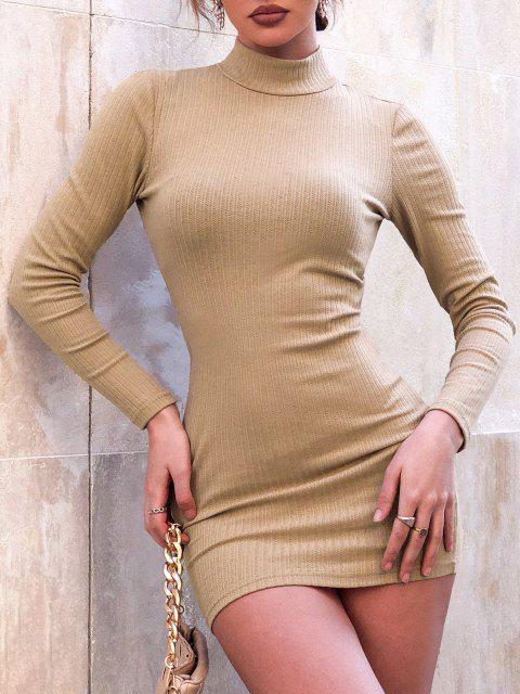 chic ZAFUL Cutout Mock Neck Mini Bodycon Dress - LIGHT COFFEE L Mobile
