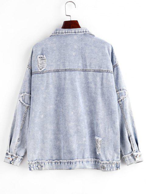 shop Distressed Frayed Button Up Denim Jacket - BLUE S Mobile