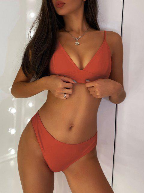 lady ZAFUL Padding Bikini Set - CHESTNUT RED S Mobile