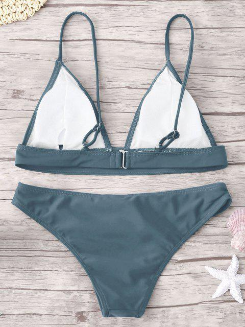 latest ZAFUL Padding Bikini Set - BLUE GRAY M Mobile
