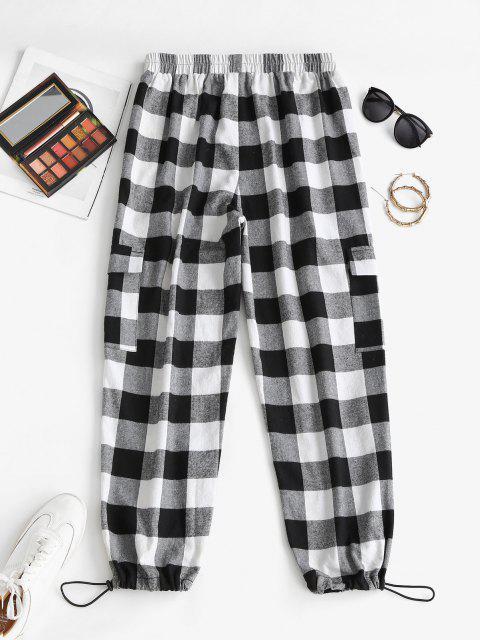 best ZAFUL High Waist Plaid Cargo Pants - BLACK L Mobile