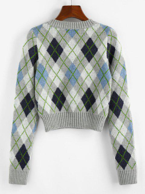 ZAFUL Argyle V Ausschnitt Gerippter Trim Jumper Pullover - Multi XL Mobile