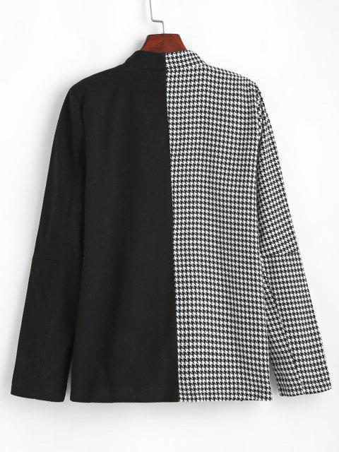 sale Houndstooth Two Tone Double Breasted Blazer - BLACK S Mobile