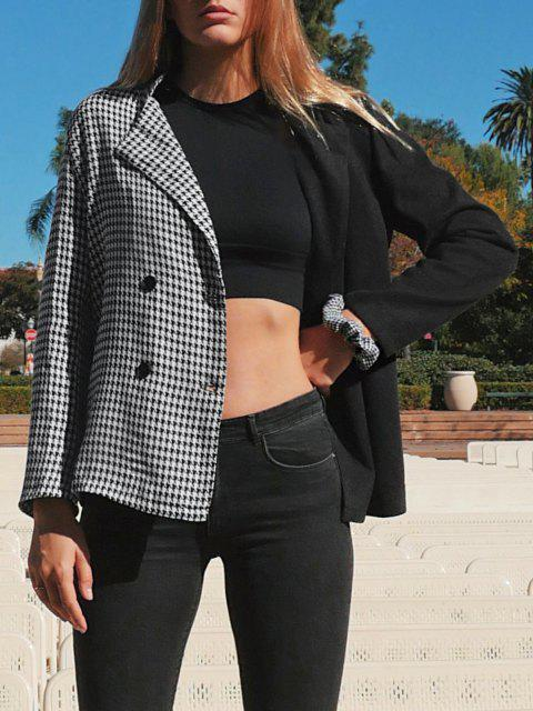 women's Houndstooth Two Tone Double Breasted Blazer - BLACK L Mobile