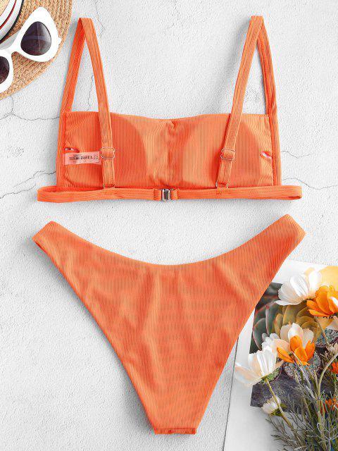 chic ZAFUL Ribbed Square Collar Bikini Swimwear - DARK ORANGE L Mobile