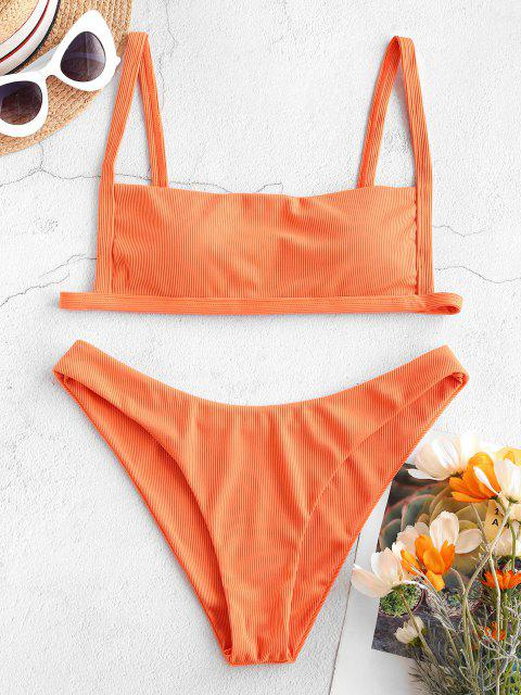 trendy ZAFUL Ribbed Square Collar Bikini Swimwear - DARK ORANGE S Mobile